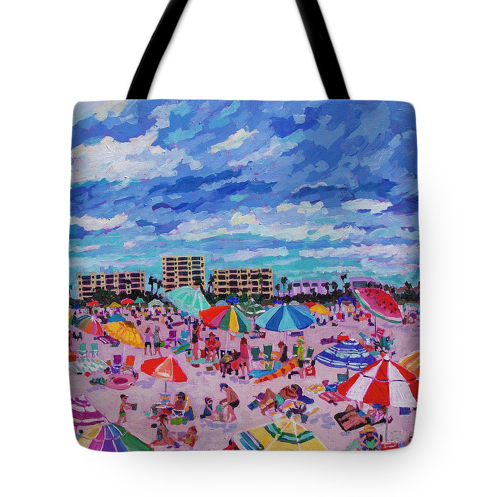 Triptych Tote Bag featuring the painting Right Panel Of Triptych Busy Relaxing by Heather Nagy