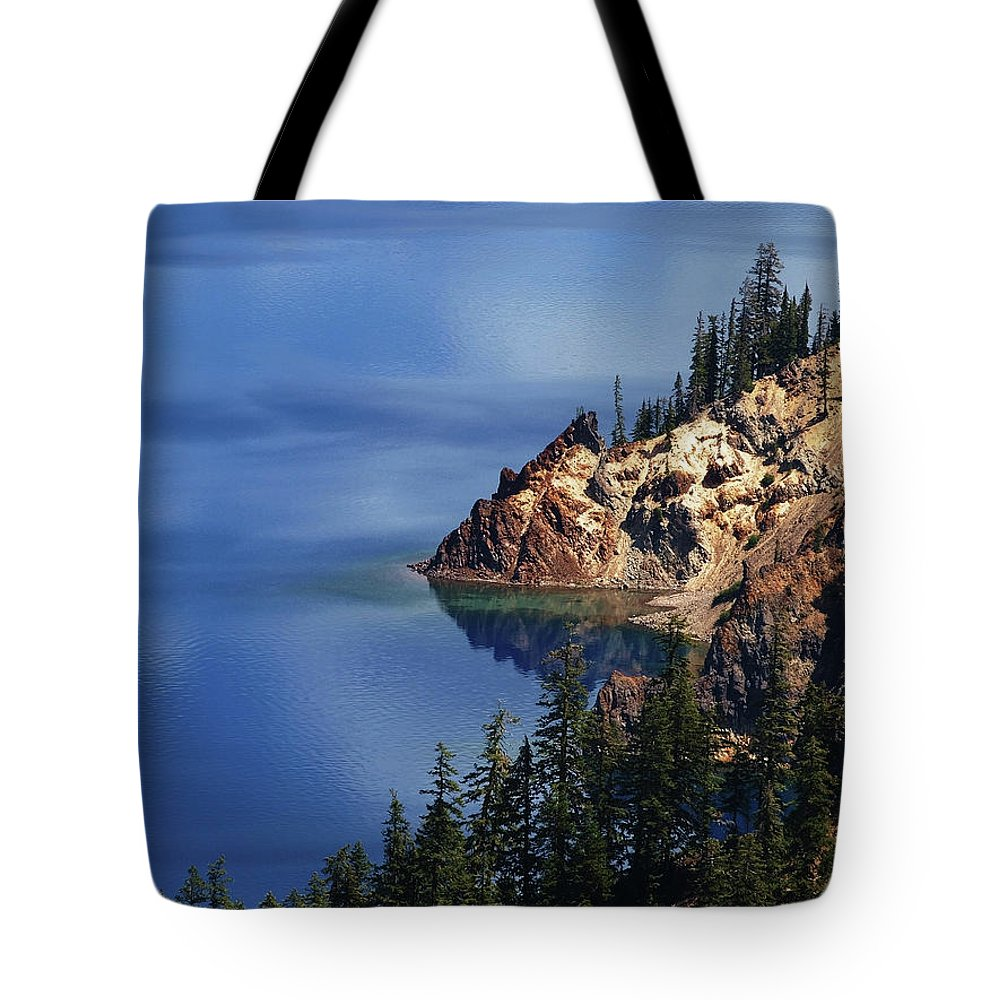Lake Tote Bag featuring the photograph Right Side Of Crater Lake Oregon by Teri Schuster