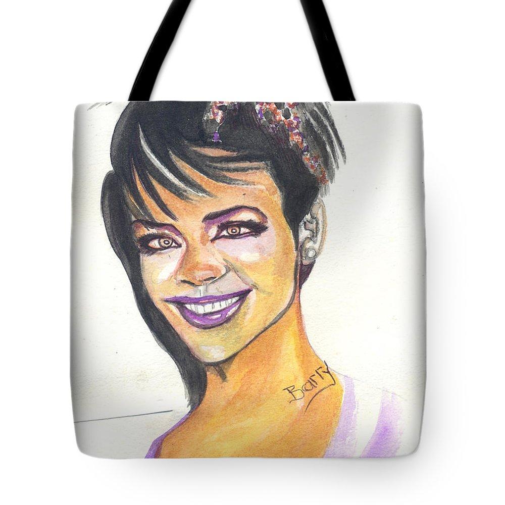 Music Tote Bag featuring the painting Rihanna by Emmanuel Baliyanga