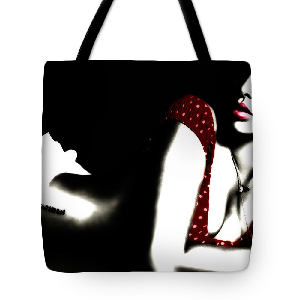 Rihanna Tote Bag featuring the digital art Rihanna In Red by Brian Reaves