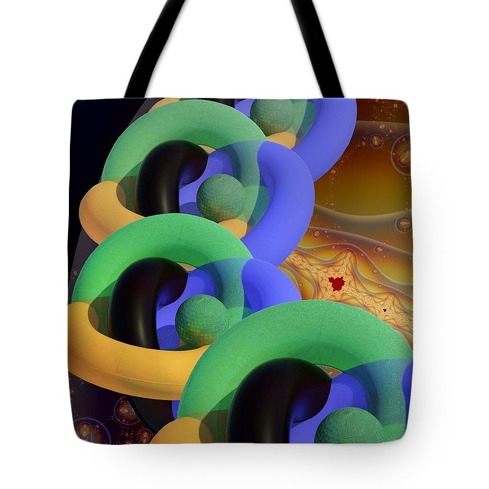 Rings Tote Bag featuring the digital art Rings And Spheres by Ron Bissett