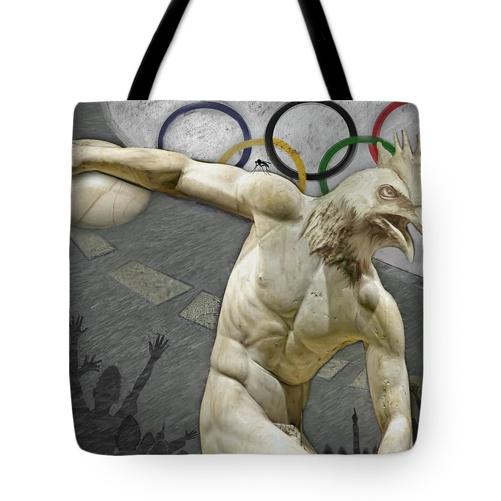 The Discus Thrower Tote Bag featuring the painting Rio 2016 by Robert Pratt