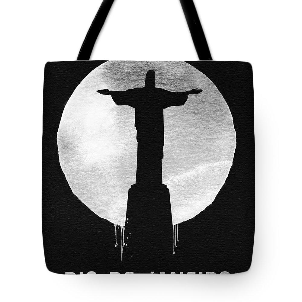 Rio De Janeiro Tote Bag featuring the painting Rio De Janeiro Landmark Black by Naxart Studio