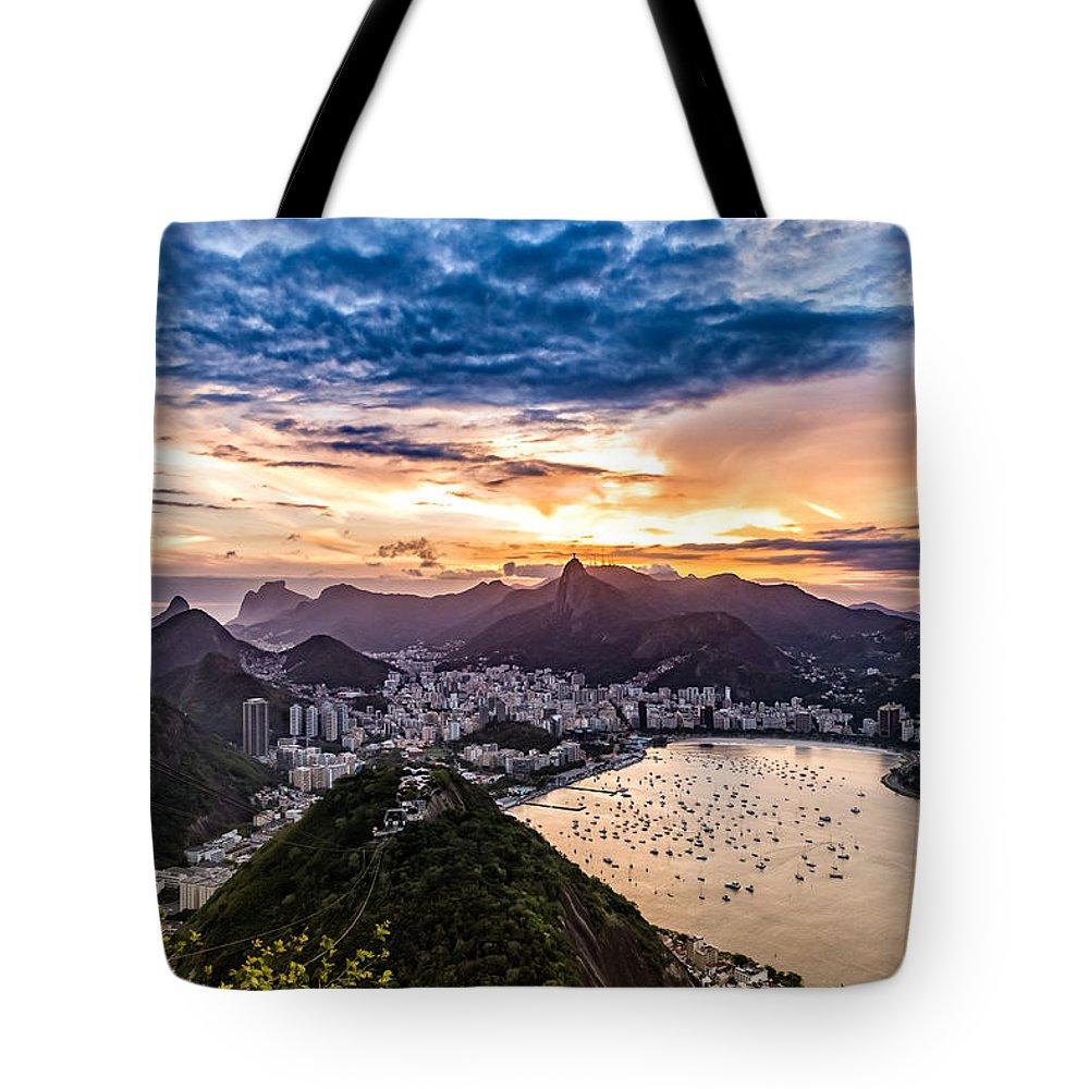 Outdoor Tote Bag featuring the photograph Rio De Janeiro Sunset by Desiree Silva