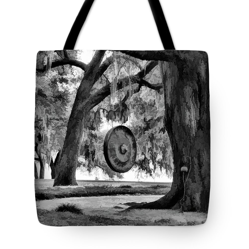 Landscape Tote Bag featuring the photograph Rip Van Winkle Gardens Louisiana Bw by Chuck Kuhn