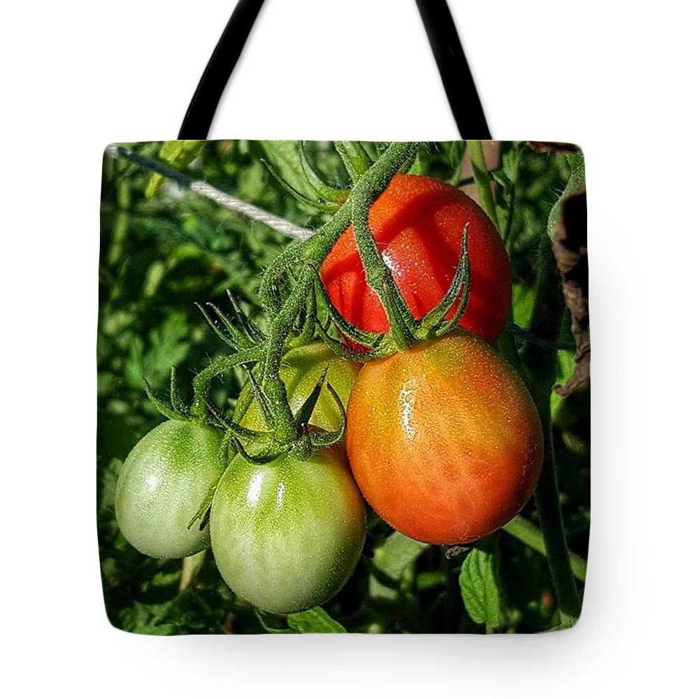 Tomato Tote Bag featuring the photograph ripening #photography #garden by Andrew Pacheco