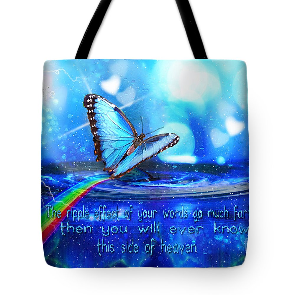Blue Butterfly Tote Bag featuring the digital art Ripple Effect by Dolores Develde