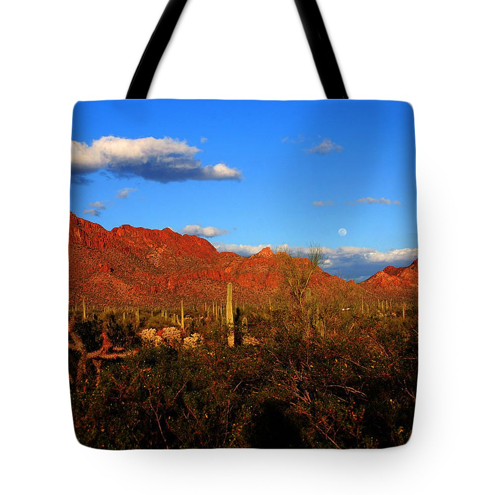 Rising Moon Tote Bag featuring the photograph Rising Moon In Arizona by Susanne Van Hulst