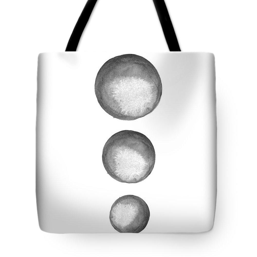 Abstract Circles Watercolor Tote Bag featuring the digital art Rising Moons by Nordic Print Studio