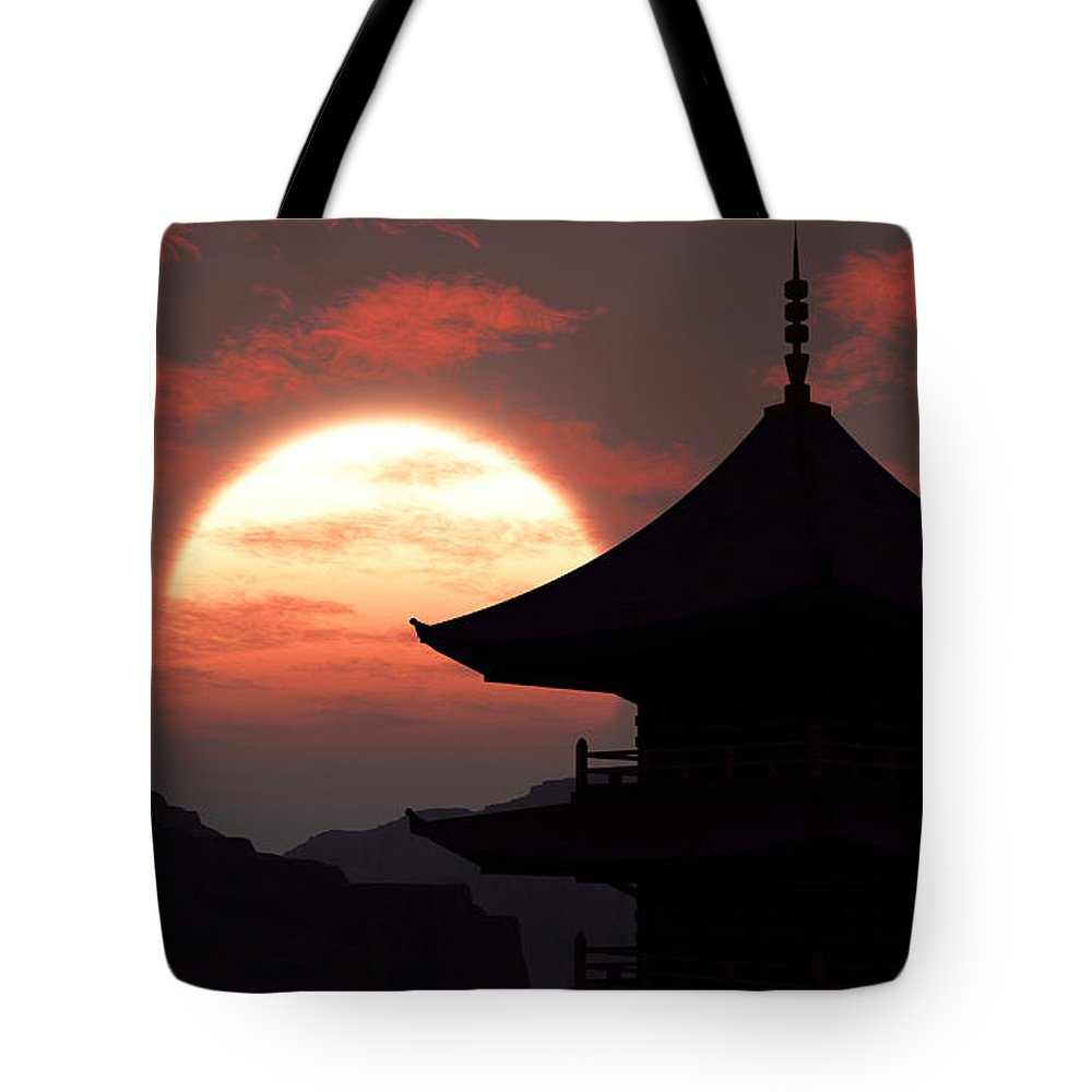 Oriental Tote Bag featuring the digital art Rising Sun by Richard Rizzo