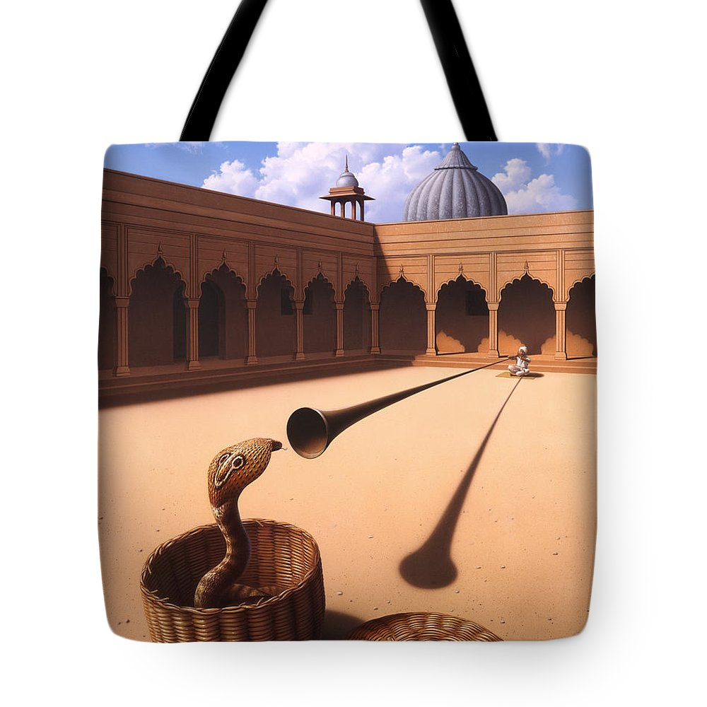 Snake Tote Bag featuring the painting Risk Management by Jerry LoFaro