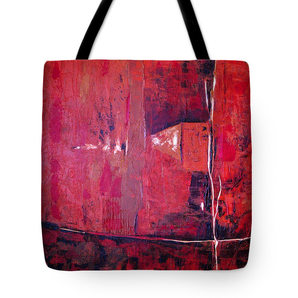 Abstract Tote Bag featuring the painting Risky Business by Ruth Palmer