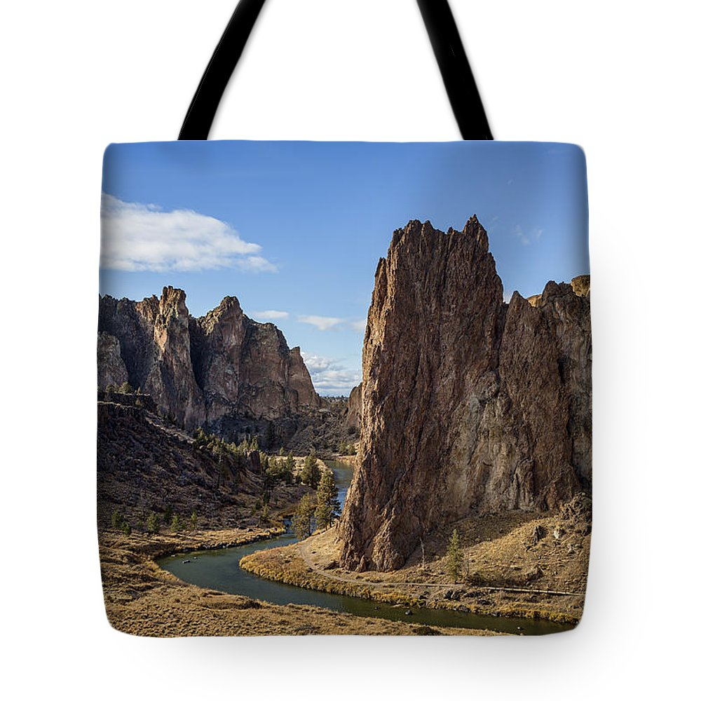 Smith Rock Tote Bag featuring the photograph River And Rock by Belinda Greb