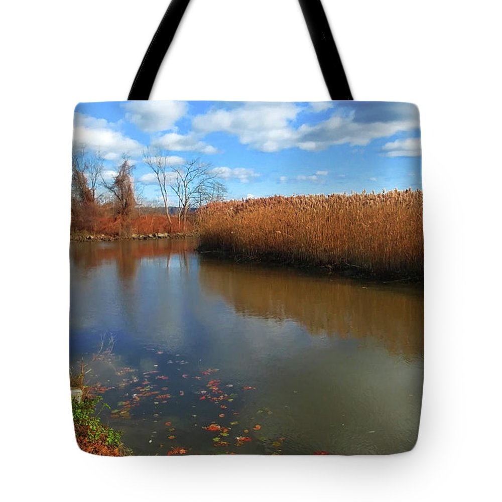 Still Waters Tote Bag featuring the photograph River Hudson Autumn Creek by Roger Bester