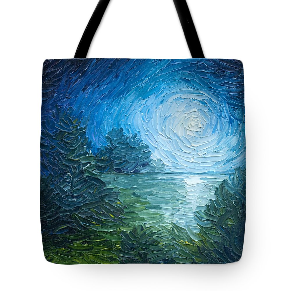 Nature; Lake; Sunset; Sunrise; Serene; Forest; Trees; Water; Ripples; Clearing; Lagoon; James Christopher Hill; Jameshillgallery.com; Foliage; Sky; Realism; Oils; Moon; Moonlight; Reflection; Blue; Lapis Tote Bag featuring the painting River Moon by James Christopher Hill