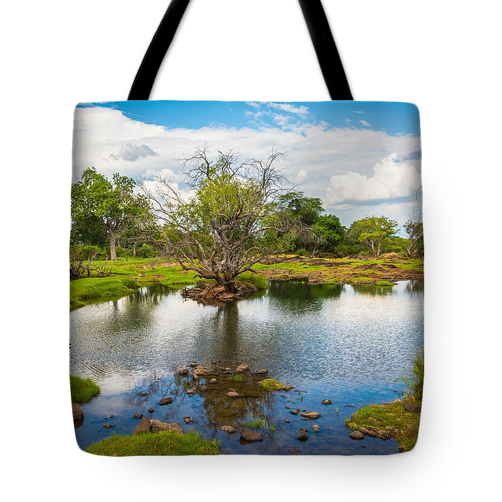 Zambezi Tote Bag featuring the photograph River Oasis by Brandon Falls