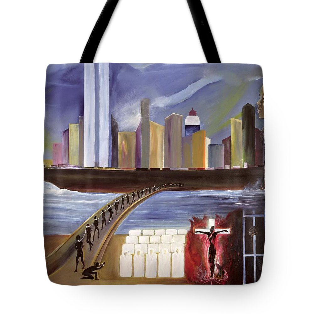 Crossing Tote Bag featuring the painting River Of Babylon by Ikahl Beckford