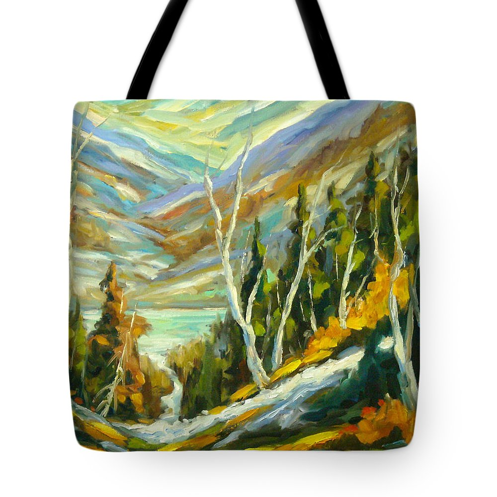 Water Tote Bag featuring the painting River Of Life by Richard T Pranke