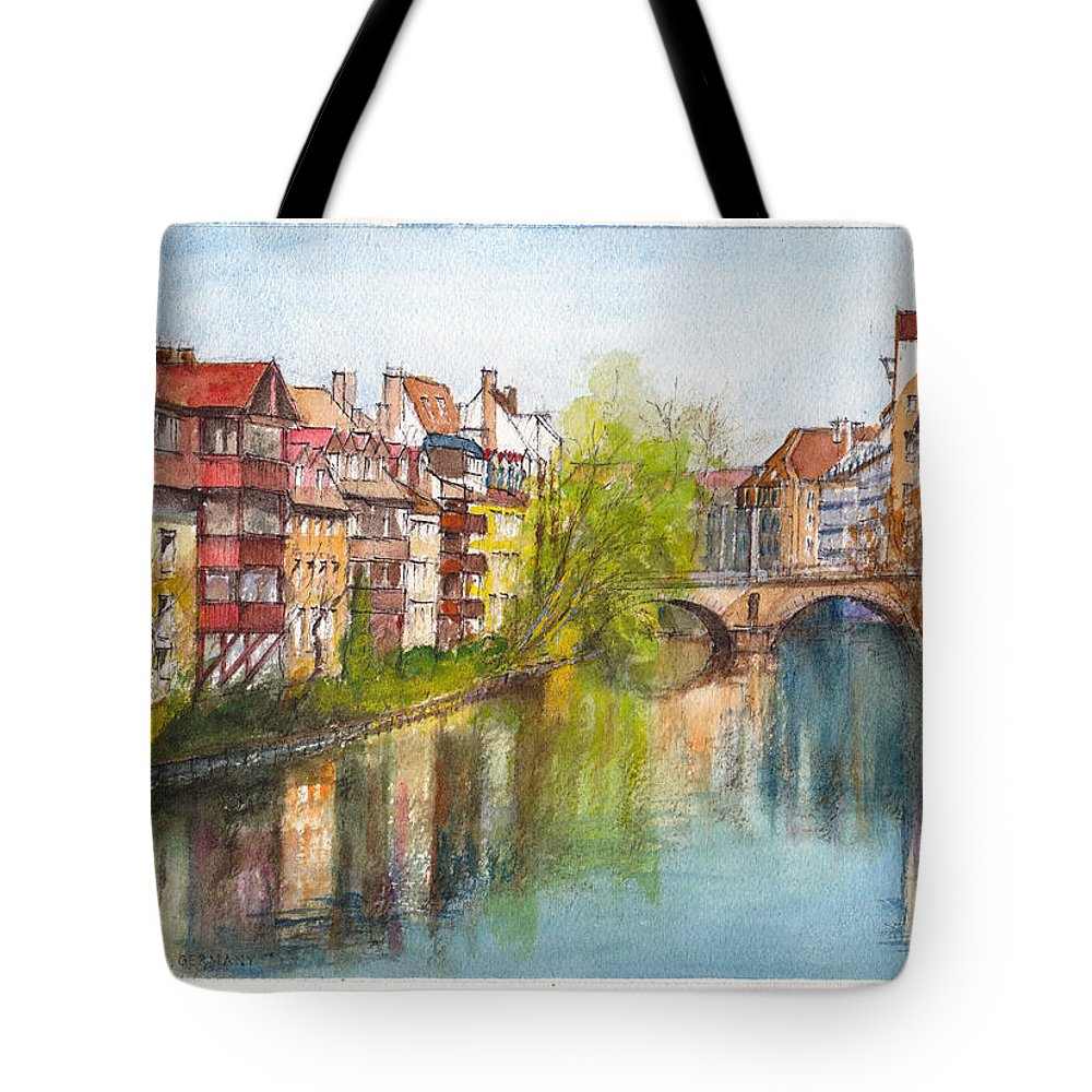 Rive Tote Bag featuring the painting River Pegnitz In Nuremberg Old Town Germany by Dai Wynn