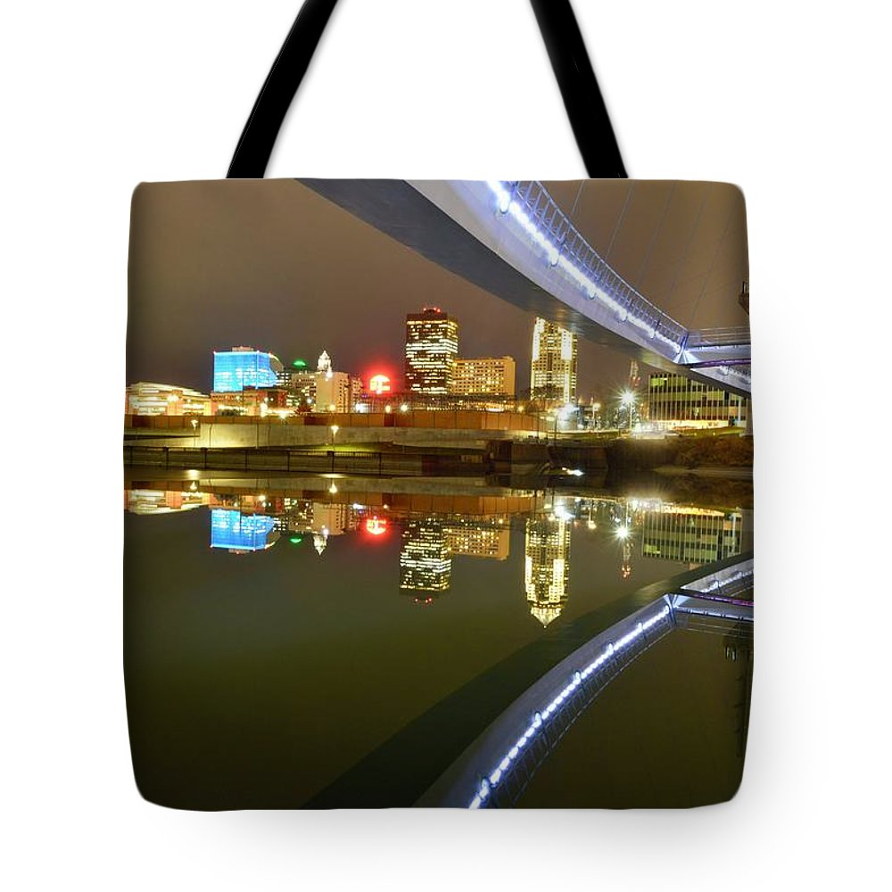 Des Moines Tote Bag featuring the photograph River Reflections by Justin Langford