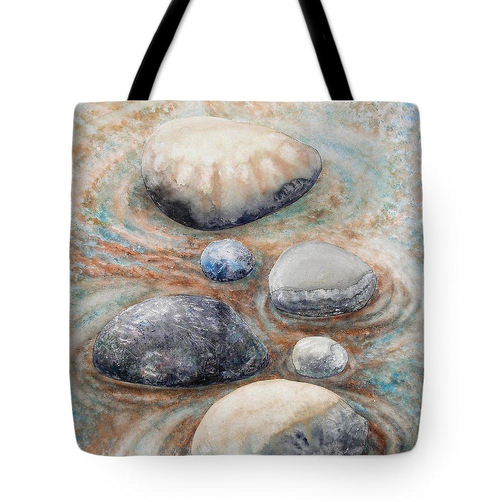Abstract Tote Bag featuring the painting River Rock 2 by Valerie Meotti