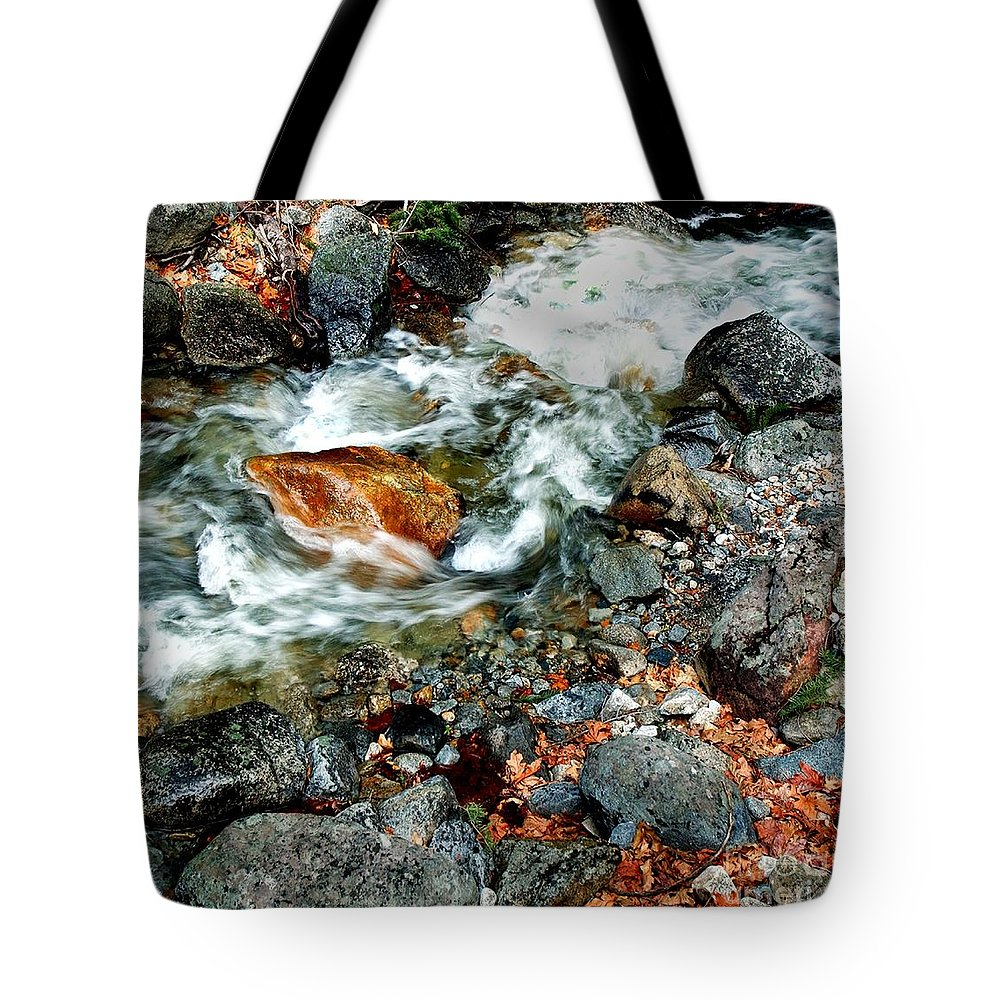 California Scenes Tote Bag featuring the photograph River Rock Leaves by Norman Andrus