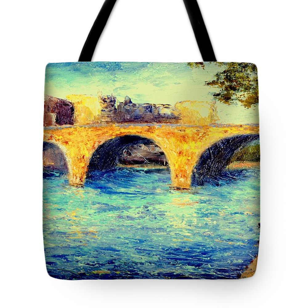 Impressionism Tote Bag featuring the painting River Seine Bridge by Gail Kirtz