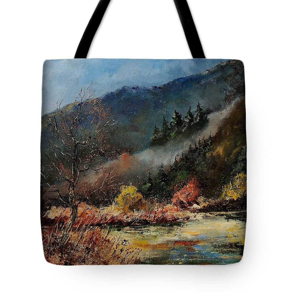 River Tote Bag featuring the painting River Semois by Pol Ledent