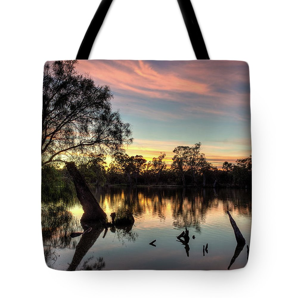 Landscape Tote Bag featuring the photograph River Sunrise by Clayton Curran