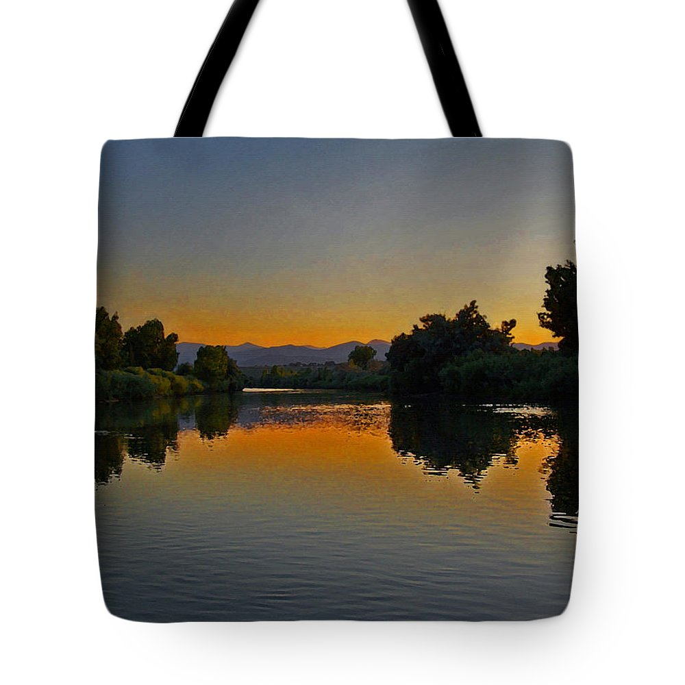 Rivers Tote Bag featuring the photograph River Sunset by Ernie Echols