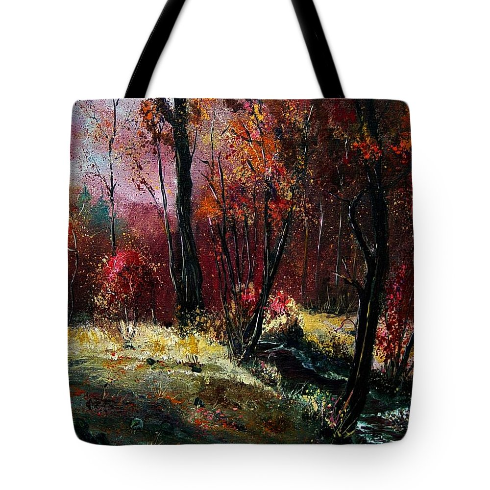 River Tote Bag featuring the painting River Ywoigne by Pol Ledent
