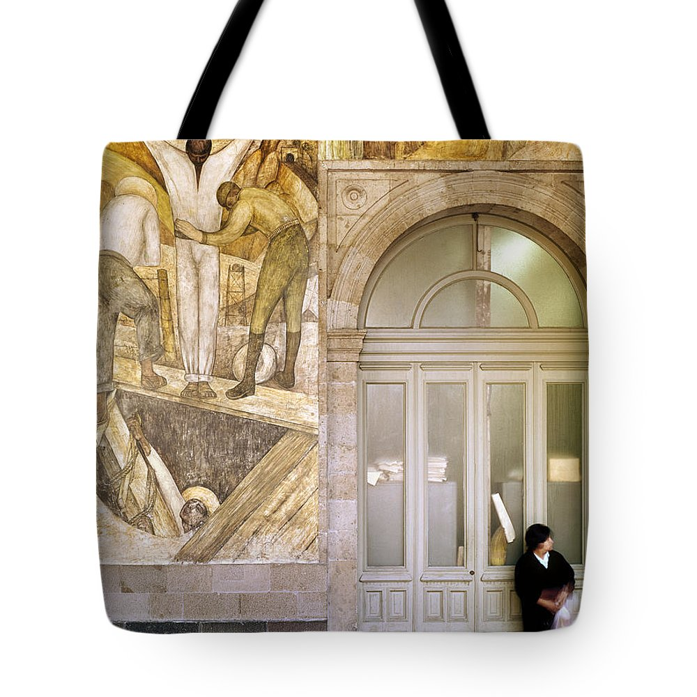 1920s Tote Bag featuring the photograph Rivera: Leaving The Mine by Granger