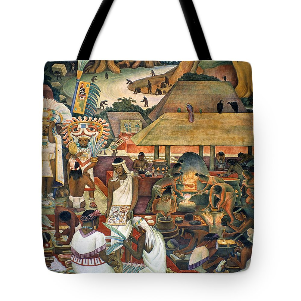 1925 Tote Bag featuring the painting Rivera Pre-columbian Life by Granger