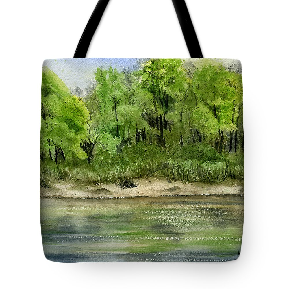Water Tote Bag featuring the painting Riverbank by Mary Tuomi
