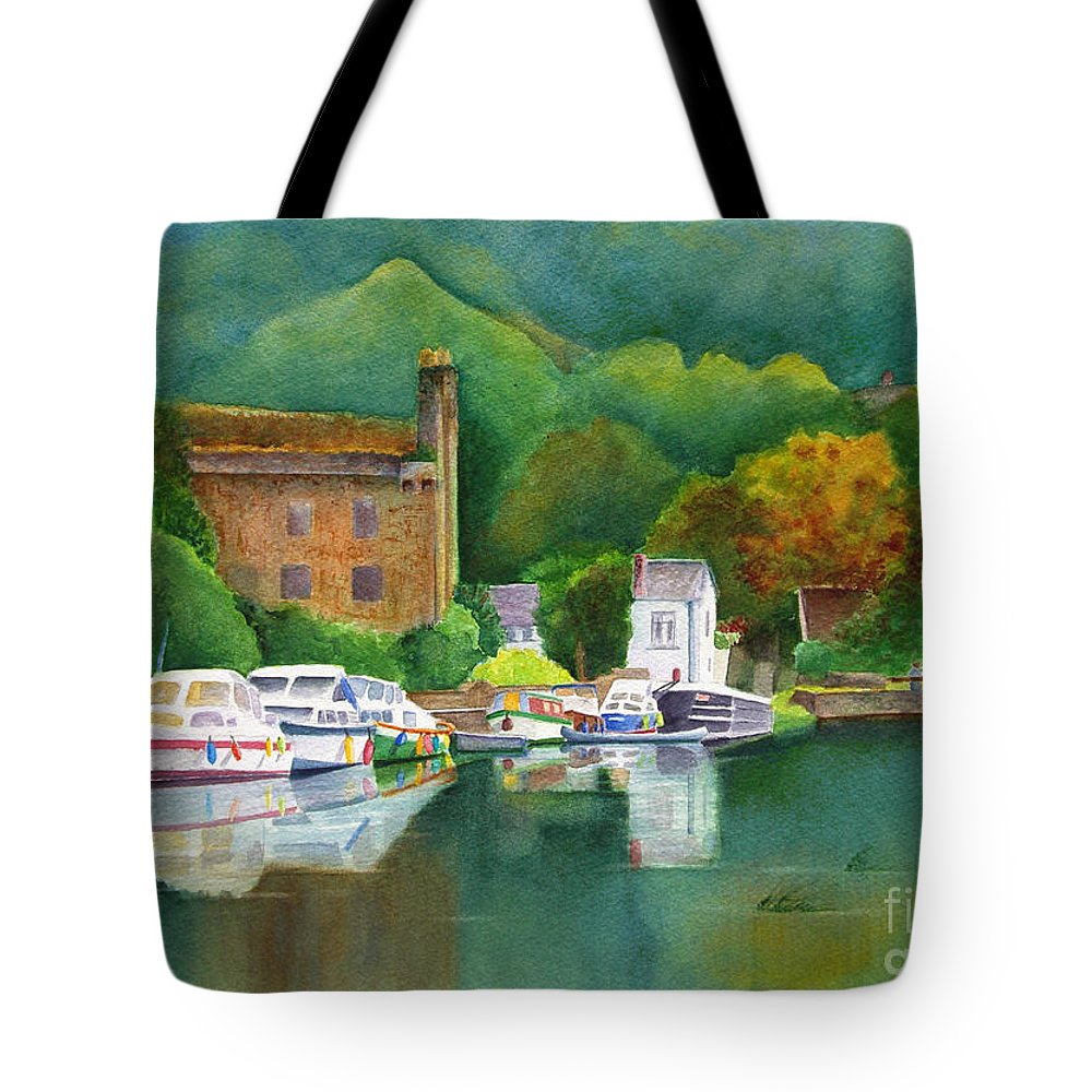 Landscape Tote Bag featuring the painting Riverboats by Karen Fleschler
