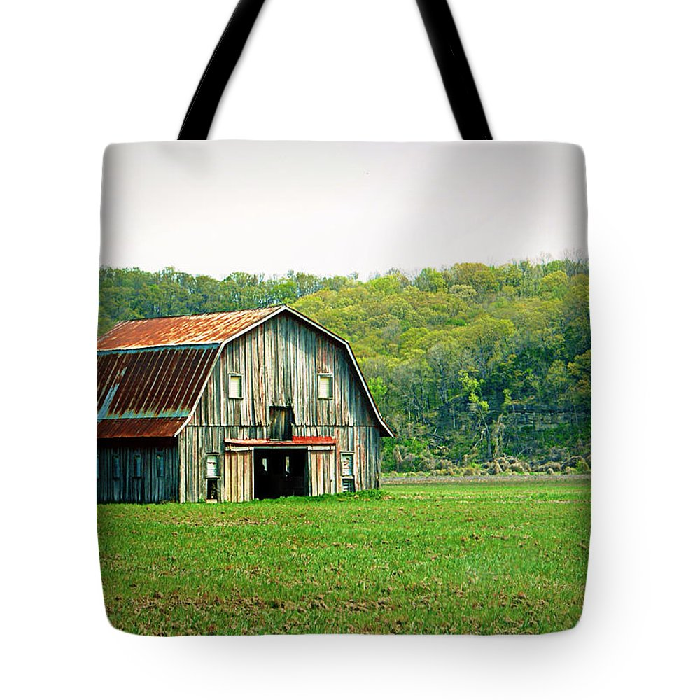 Barn Tote Bag featuring the photograph Riverbottom Barn In Spring by Cricket Hackmann