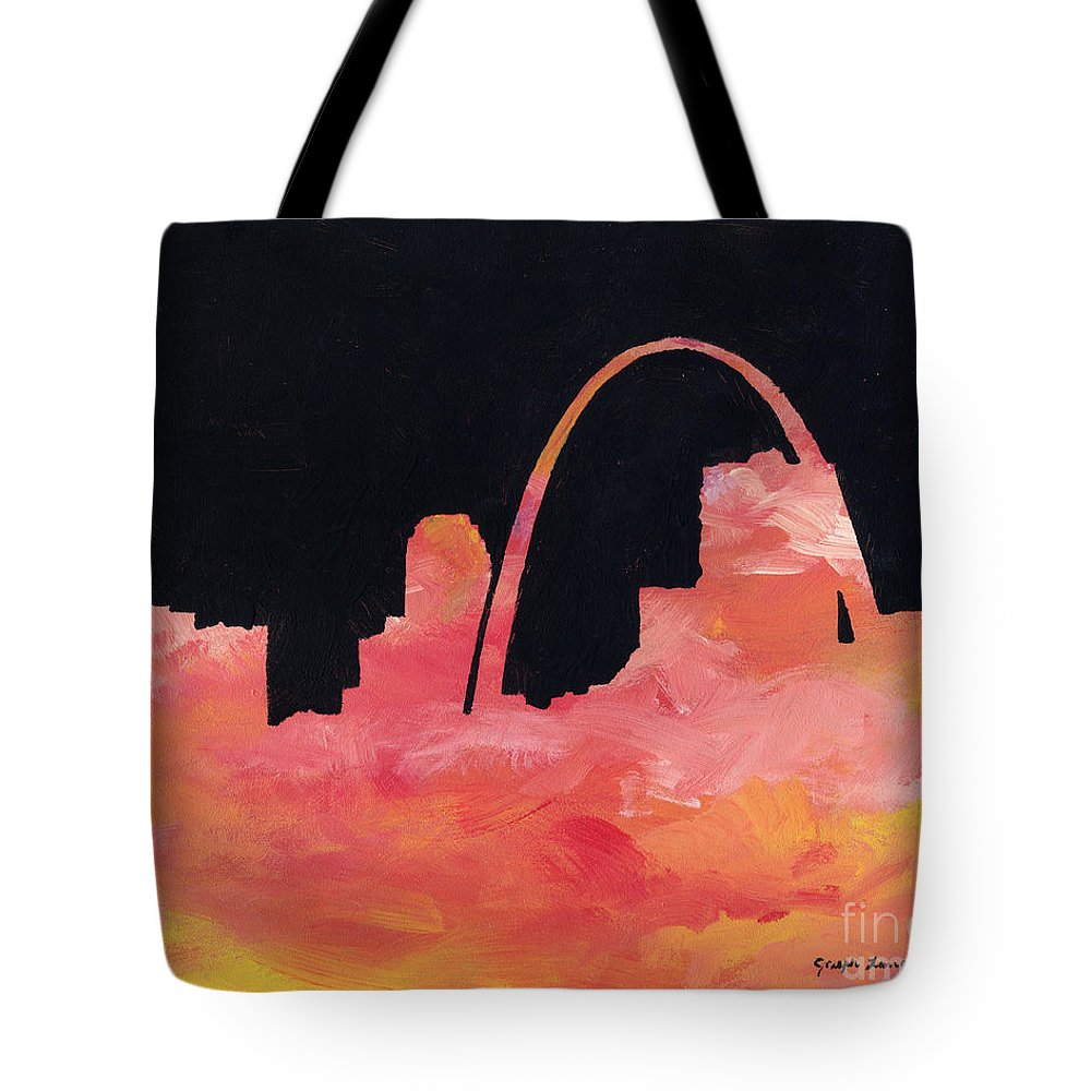 Cityscape Tote Bag featuring the painting Riverfront by Joseph A Langley