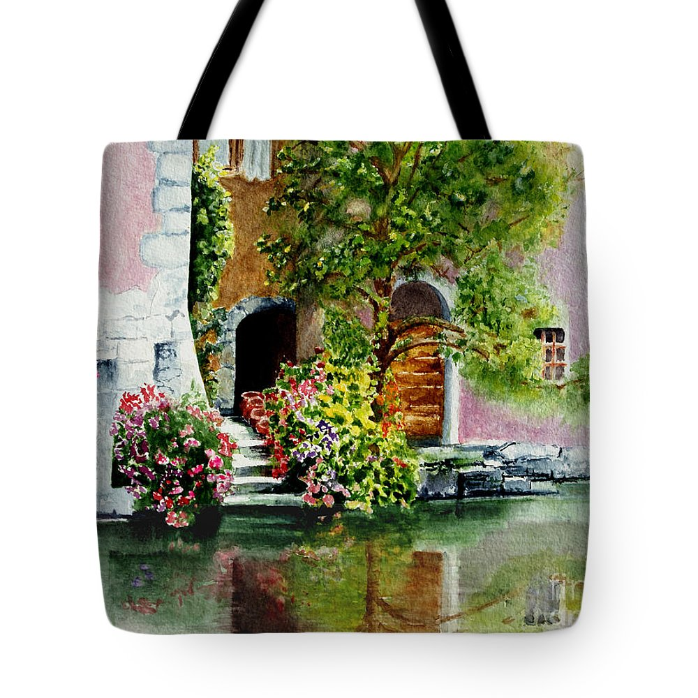 Water Tote Bag featuring the painting Riverfront Property by Karen Fleschler