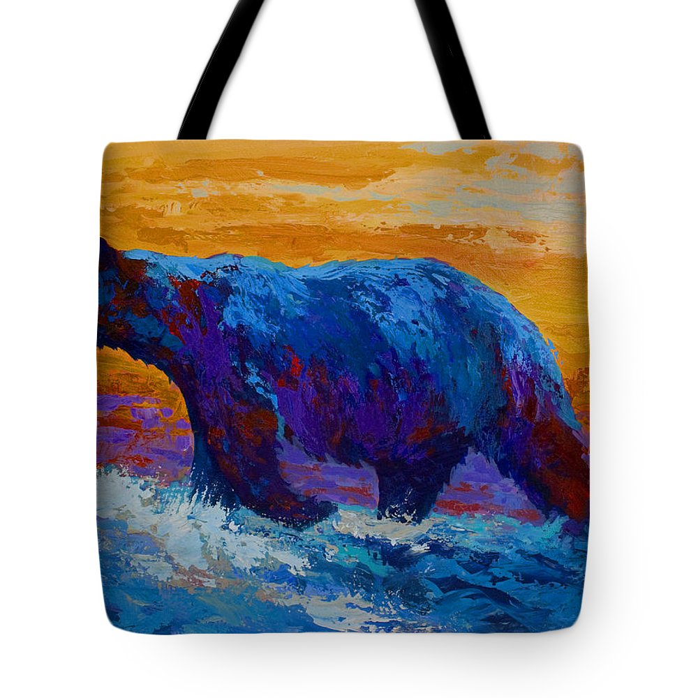 Bear Tote Bag featuring the painting Rivers Edge I by Marion Rose