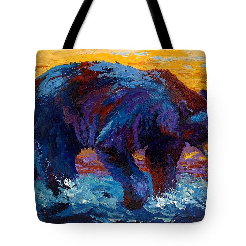 Western Tote Bag featuring the painting Rivers Edge II by Marion Rose