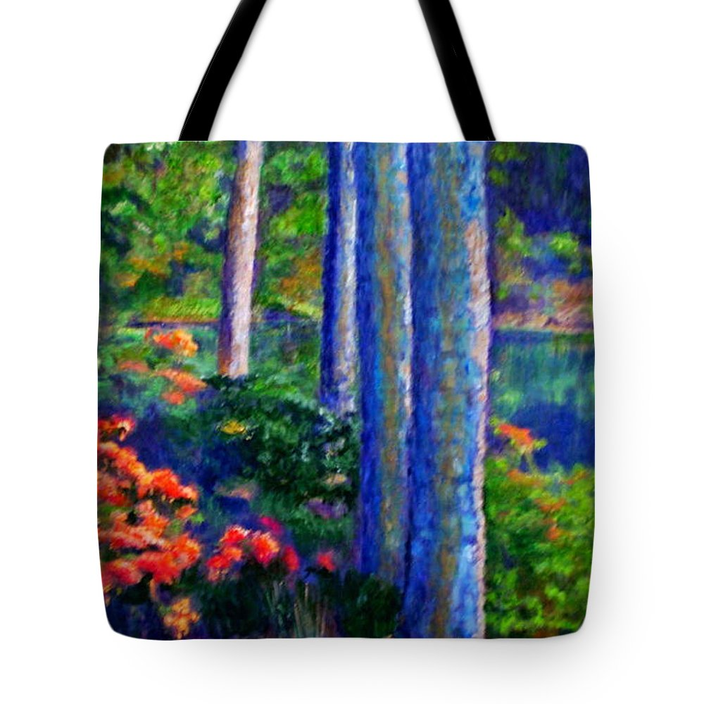 River Tote Bag featuring the painting Rivers Edge by Michael Durst