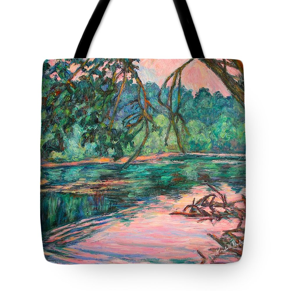 Riverview Park Tote Bag featuring the painting Riverview At Dusk by Kendall Kessler