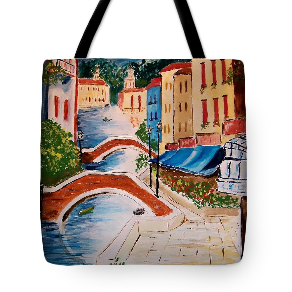 Canal Tote Bag featuring the painting Riverwalk by Leo Gordon