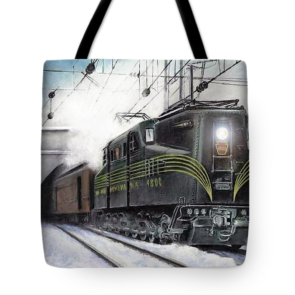 Pennsylvania Railroad Tote Bag featuring the painting Rivets by David Mittner