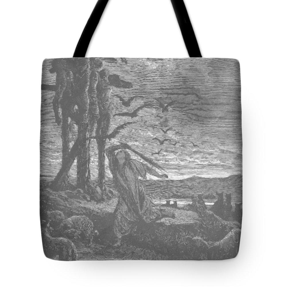 Rizpah Tote Bag featuring the painting Rizpah Kindness Toward The Dead by Dore Gustave