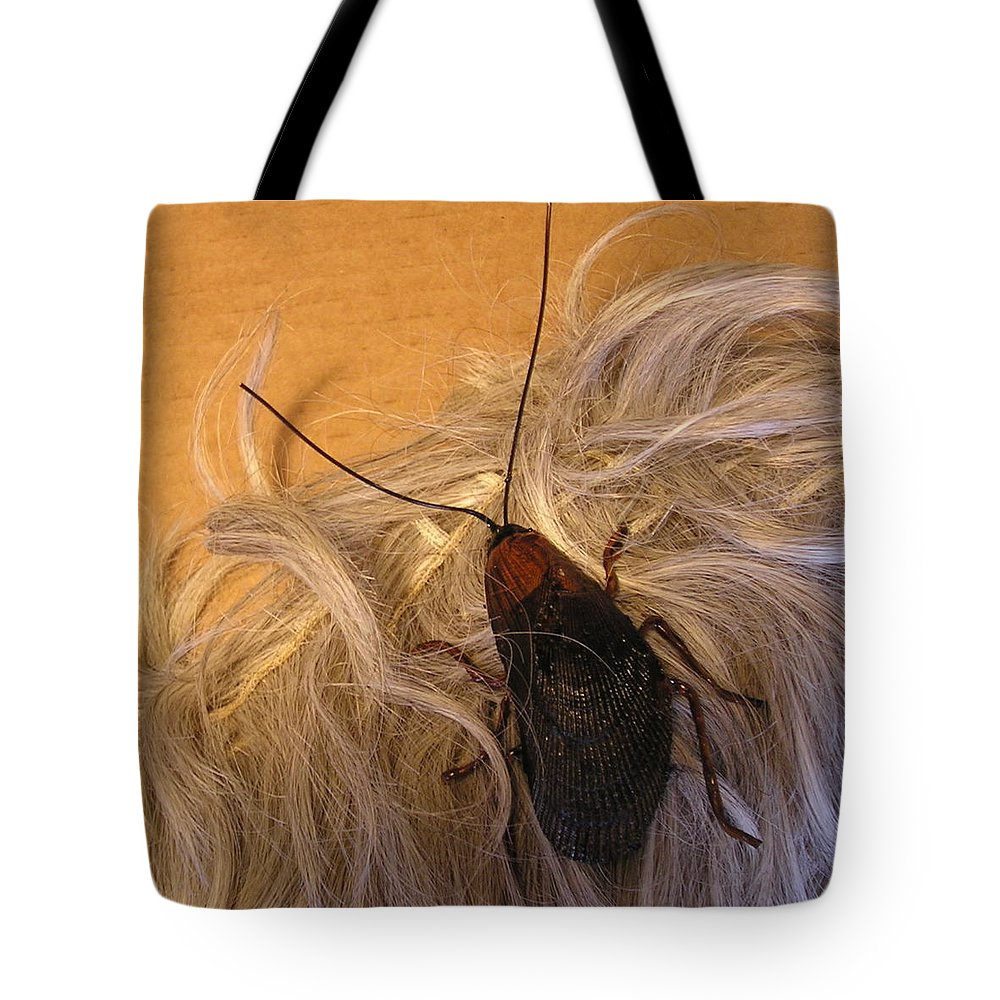 Jewelry Tote Bag featuring the sculpture Roach Hair Clip by Roger Swezey