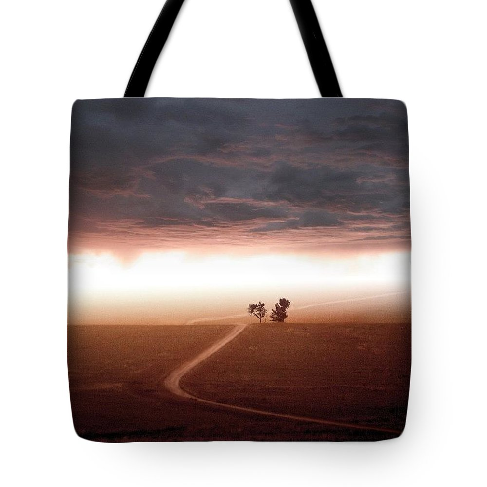 Scenic Tote Bag featuring the mixed media Road Less Traveled by Bill Stephens