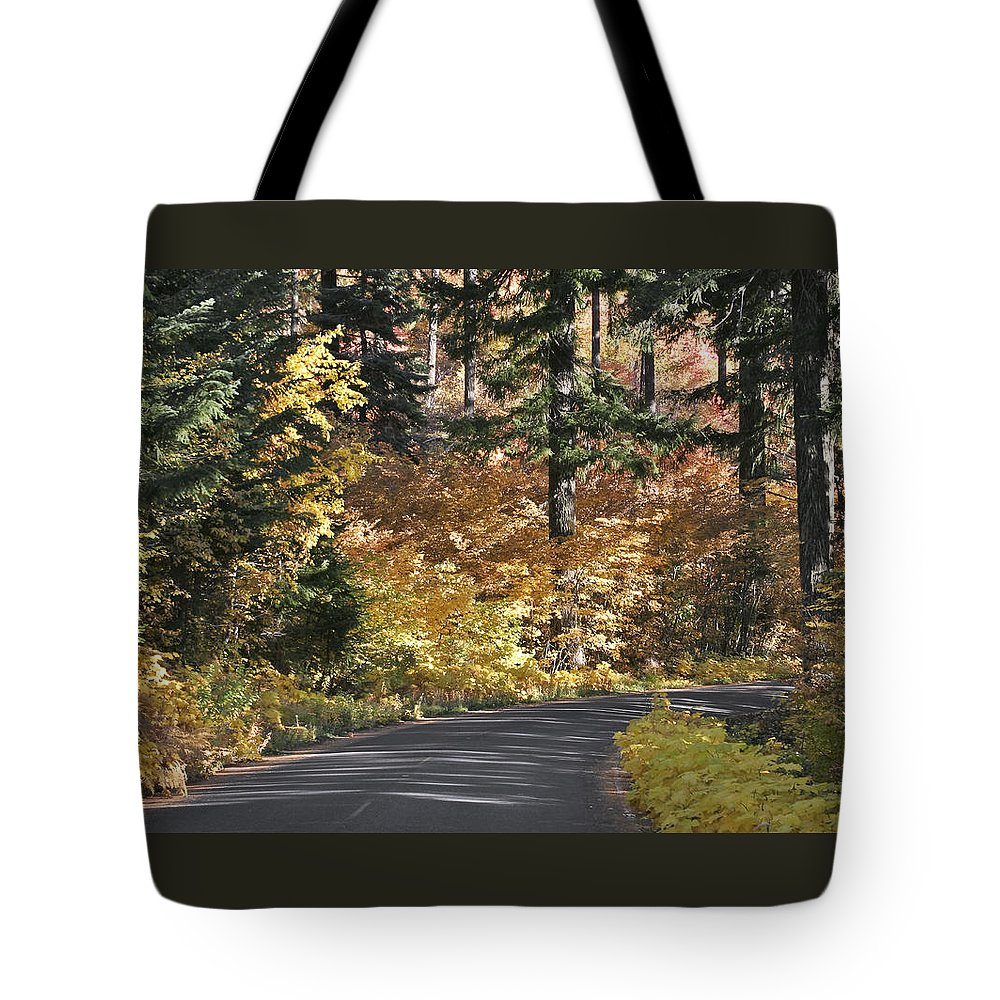 Road To Autumn Tote Bag featuring the photograph Road To Autumn by Wes and Dotty Weber
