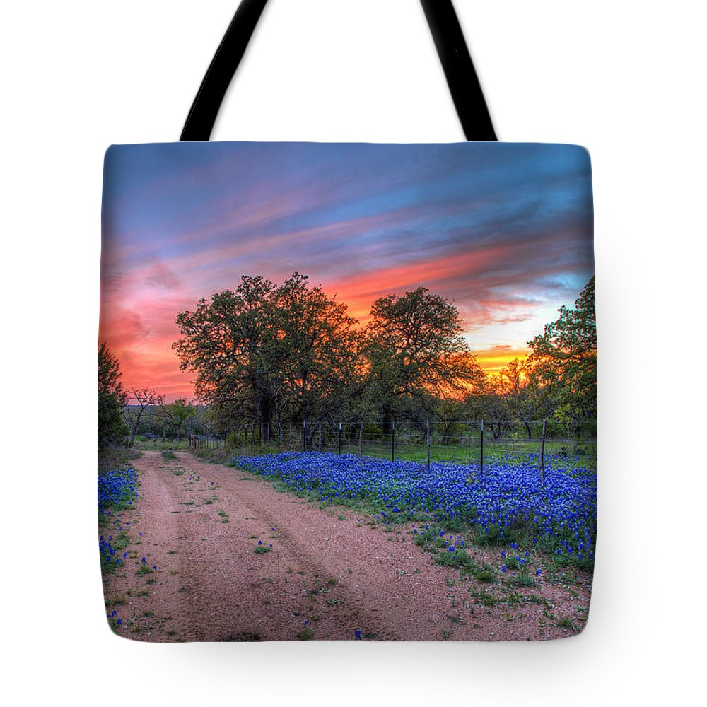 Blanco County Tote Bag featuring the photograph Road To Sunset by Tom Weisbrook