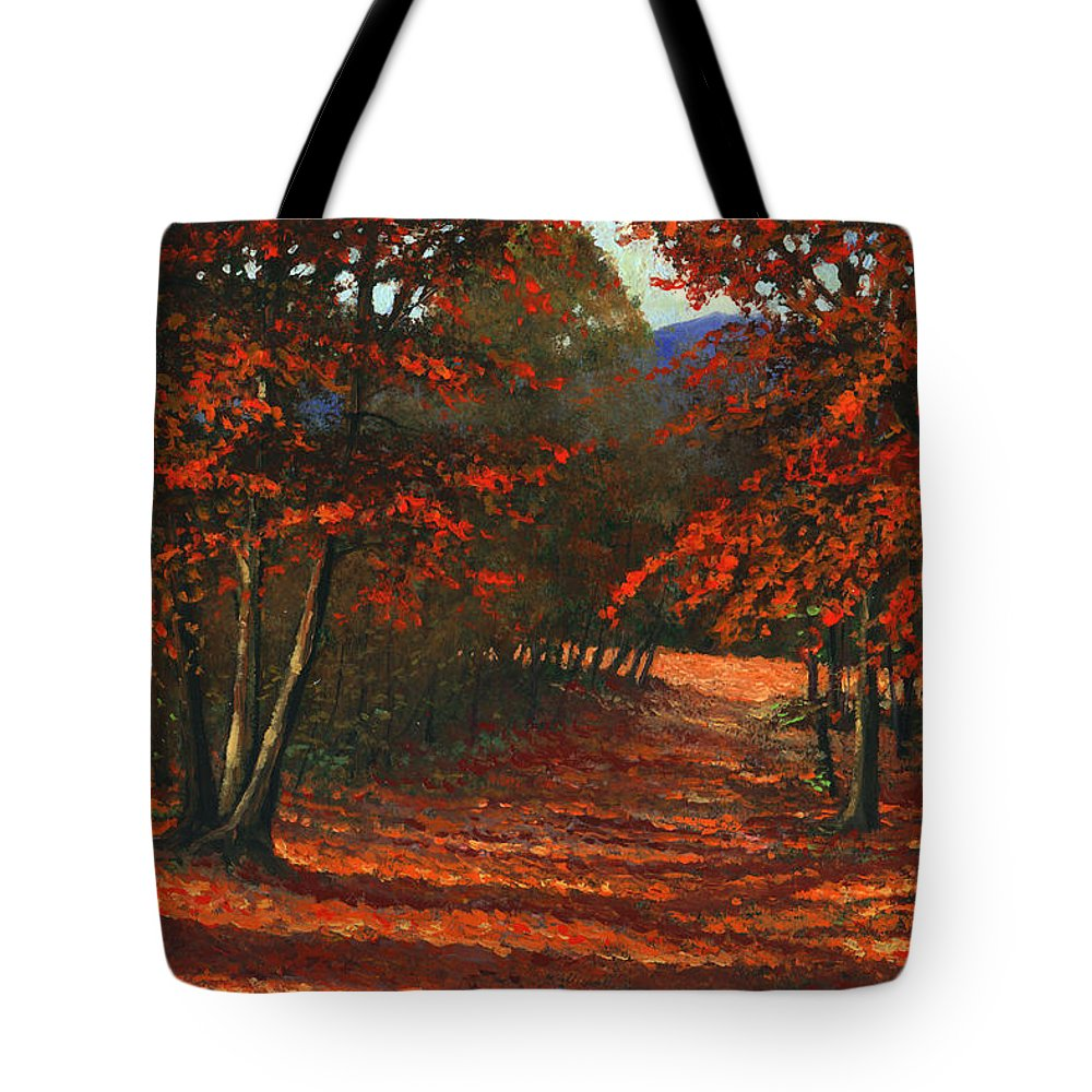 Landscape Tote Bag featuring the painting Road To The Clearing by Frank Wilson